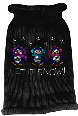 Let It Snow Penguins Rhinestone Knit Pet Sweater XL Black